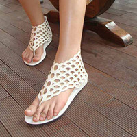 Wholesale promotion Women Girls Ladies Beach Flat Shoes Roman Style Hollow Fish Scale Sandals Flip Flops Zipper Slippers V8233