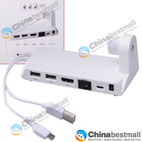 Mini PC Holder 10804  Measy U2C-D All-In-One Mini PC Holder Android TV Stick Dock with USB HDMI SD Card Slot - White