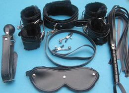 Wholesale PU handcuff hand restraint bondage gear one Set handcuff anklet on sex toys XLY008