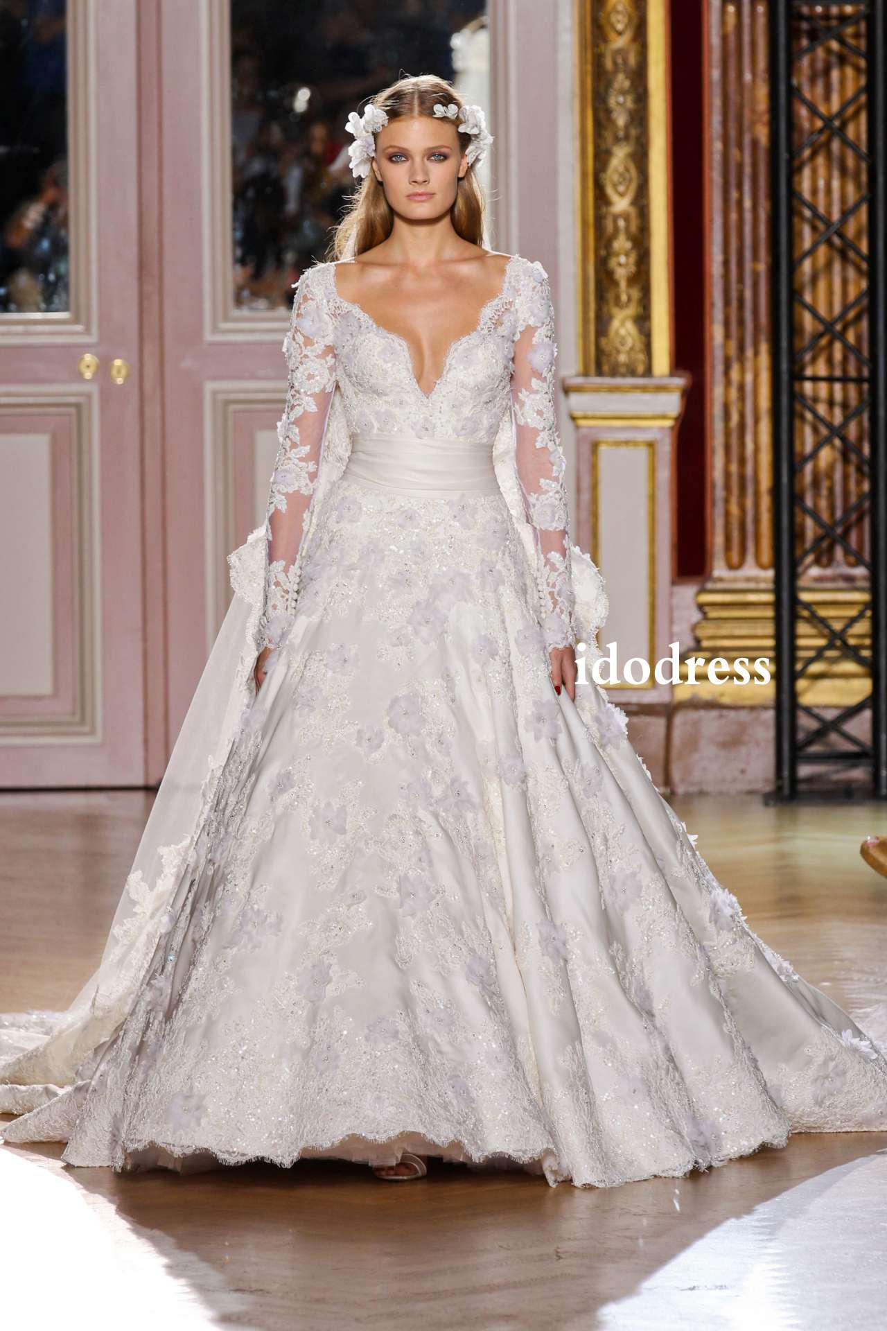 Discount Top Grade Wedding Dresses 2014 A Line V Neck Long Sleeves ...