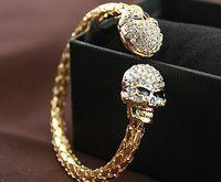 Wholesale 12pcs fashion skull Design head jewelry punk Bracelet full crystal Rhinestone cuff bangle handchain JB025