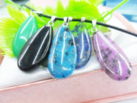 Wholesale Big Water Drop Gemstone Pendants Jewelry Findings Loose Bead Charms Natural Stones For Necklace