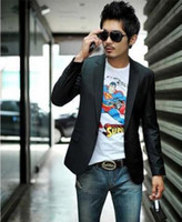 Wholesale 2013 Fashion Mens Blazers Suit Jackets Spandex Black Solids One Button S M L XL XXL XXXL Casual Style Handsome TC