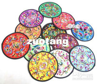 Wholesale Fabric Big Gift Coasters Set Round Embroidered Mats Table Pad sets set mix color Free