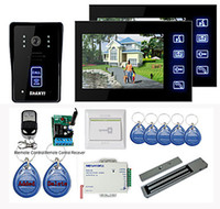 "Wireless 7'' 1 Camera w/ 3 Monitors New 7"" Color Hands Free Video Door phone with 2 Monitors(RFID keyfobs,Magnetic lock,Remote Control)"