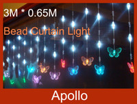Wholesale LED Bead Curtain Light m m Leds Butterfly Door Curtain Backdrop Christmas Tent Fly Xmas Wedding Party Porch Fairy String Lights