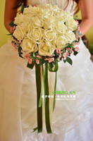 Wholesale 2013 Hot Sale Wedding Bouquet Artificial IVORY Rose Flowers Bridal Throw Bouquet Bridal Bouquets GIFT gt RYJK
