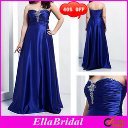 Wholesale 40 OFF Beaded Royal Blue Satin A Line Floor Length Sweetheart Plus Size Special Occassion Dresses Prom Evening Party Gown Dress