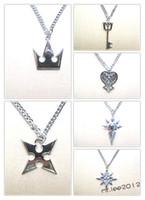 Wholesale 6PCS SET Kingdom Hearts Sora Crown amp Roxas Cross Necklace amp Keyblade HOT