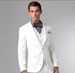 New Style White Two Buttons Groom Tuxedos Best Man Peak Lapel Groomsmen Men Wedding Suits Bridegroom (Jacket+Pants+Tie+Vest) H868