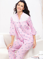 Wholesale Brand New Women s Printed Pajamas Sleeve sleep wear V Neck Pink Blue Mix order pc