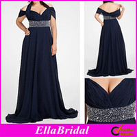 Wholesale Hot Dark Navy Blue Chiffon A Line Floor Length Off the Shoulder Halter Plus Size Special Occassion Dresses Prom Evening Party Gown