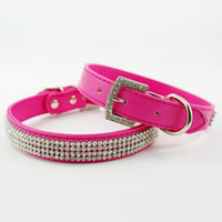 Wholesale Hot selling Rhinestone diamante dog collars fashion PU leather jewelry Pet collar
