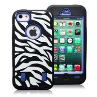 achat en gros de zèbre housses hybride iphone-Zebra Cas 3 pièces hybride High Impact Cover Case pour iPhone Zebra 5 expédition + Pen gratuit