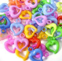 achat en gros de charmes pendentif en plastique-250Pcs Pendentif en acrylique coloré en acrylique en forme de coeur 15mm (002994)