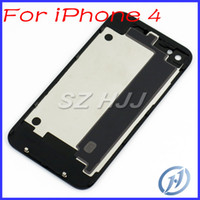 For iPhone 4 Glass Back Housing Rear Battery Door Cover Blac...