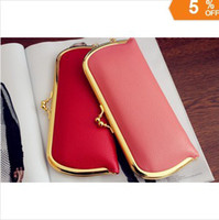 Wholesale PU lady fashion long style wallet metal buckle closing women coin purse