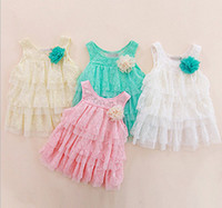 Summer korean kids clothes - Korean kids clothing Big flower Layer upon layer lace gallus cake princess girls dress year baby dresses size colour