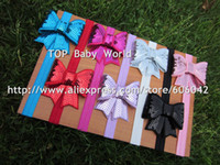 Wholesale baby Elastic Headbands soft stetch headband with quot Embroideried sequin bows new design FOE headband