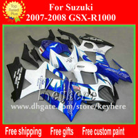 Wholesale Free Custom race fairing kit for SUZUKI GSX R1000 GSXR K7 fairings G4j Corona white black aftermarket motorcycle parts