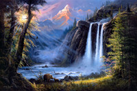 Classical barnes painting - Hot selling HD print oil painting on canvas Jesse Barnes Forest waterfalls bear snow mountain X24