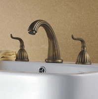 Brass bathtub antique - 3pcs Bath Basin Or Bathtub Faucet Set Mixer Tap Antique Brass jn8677