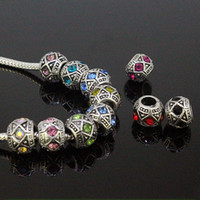 Wholesale New Style Tibet Silver Mixed Rhinestone Crystal Big Hole European Spacer Beads Fit Charms Bracelets