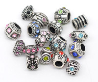 Circle rhinestone spacer beads - Charms Mixed Silver Tone Rhinestone Big Hole European Spacer Beads Fit Bracelets x6mm x11mm