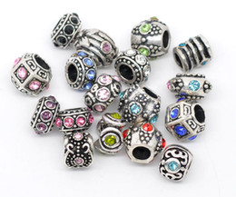 Wholesale Charms Mixed Silver Tone Rhinestone Big Hole European Spacer Beads Fit Bracelets x6mm x11mm