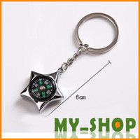 Wholesale Waist hanging car key Men s keychain compass keychain outdoor pentagram