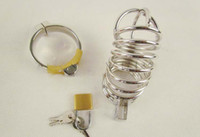 Steel   New Arrive Male Stainless Steel Penis Cage Dildo ring sleeve Cock Cage with Ring & padlock Sex toy