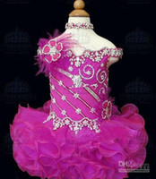 Wholesale fuchsia organza mini beading and feathers ball gown cupcake flower girl dresspageant girl dress