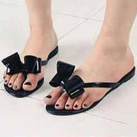 Wholesale Hot sale Happy Mood Beach Sandal Sweet Bowknot Flip Flops Ladies Jelly Shoes Colors Women Flat Sandals V8250