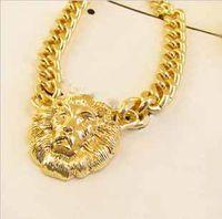 Wholesale hot sale Fashion women girl Punk Vintage Gold wide Chain Lion head Avatar necklace Rihanna style WH8012