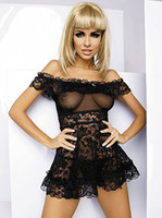 Wholesale Sexy lace black red White baby doll lingerie sexy adult costumes night wear dress