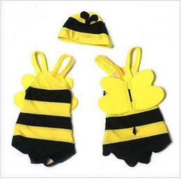 Wholesale Kids Swimwear Cute Bee modeling swimwear children preschool boys and girls baby kids swimwear hat swimsuit MZ10