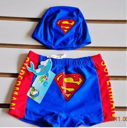 Wholesale Kids Swimwear Cute swimsuit Small Superman swimming trunks boy swimming trunks swimsuit children flat foot distribution cap MZ10