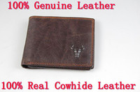 Wholesale Guranteed Natural Cowskin Full grain men bag clutch cowhide genuine leather men wallet money wallet card holder billfold for cowboy
