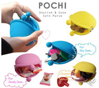Wholesale 2014 Fashion POCHI Silicone Coin Purse Accessories multi pouch jelly candy color wallet key money bag bags handbag hot sell