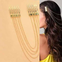 Wholesale promotion NEWEST WOMEN S VINTAGE GOLD SILVER CHAINS FRINGE TASSEL HAIR COMB CUFF WOMEN HEAD CLIPS HAIRBAND V8071