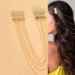 продвижение Оптовая продажа - НОВЫЕ ЖЕНЩИНЫ # 039; S старинные золотые / серебряные цепочки FRINGE TASSEL ВОЛОС COMB МАНЖЕТЫ женщины возглавляют CLIPS Hairband V8071