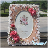 Cheap 6 fashion rustic vintage rose picture frame handmade fashion resin photo frame christmas gift