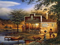 Wholesale Hot selling HD print oil painting on canvas Terry Redlin Children s holiday Landscape x24