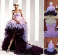 Beach Summer Sexy 2013 Sweetheart Corset Beaded Crystals Ruched Organza Front Short Back Long Purple&Light Purple Beach Hi-Lo Wedding Prom Celebrity Dresses