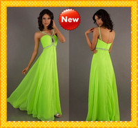 Sheath/Column Modern Sequin 2013 Custom Sexy Unique neck Designed V-neck Chiffon Lime Green Crystal Beaded Prom Dress Evening Bridesmaid Party Formal Dresses Gown 2013