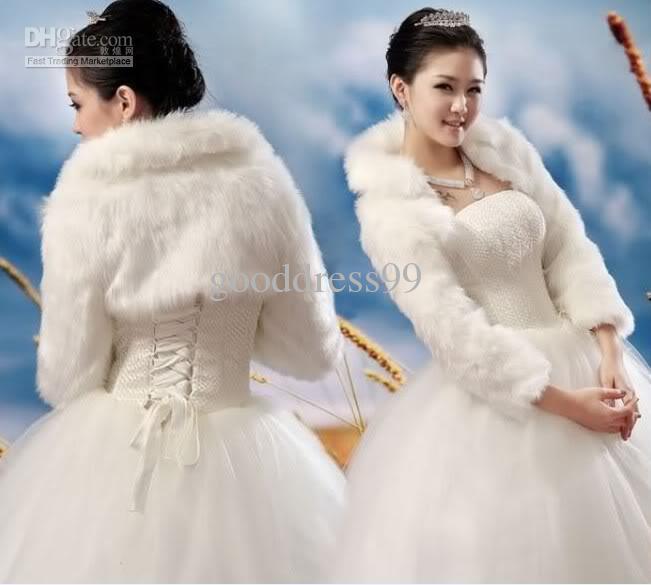 2017 new ivory faux fur wrap shrug bolero wedding bridal for Fur shrug for wedding dress