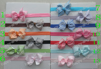 Headbands Chemical Fiber Striped Free Shipping 20pieces lot 7cm DIY Grosgrain ribbon Bow bowknot lace bowknot stripe bow with headband Hair Accessory Hair Bows 13 Colors