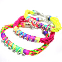Colorful Punk Bracelets Diamond Bracelets Woven Leather Fluo...