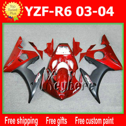 Free 7 gifts Custom ABS race fairing kits for YZF R6 2003 2004 YZFR6 03 04 fairings G3h hot sale red black aftermarket motorcycle body work
