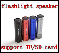 Wholesale Portable electric torch speaker Bike Bicycle Music player Mini Flashlight Speaker support TF SD card DHL